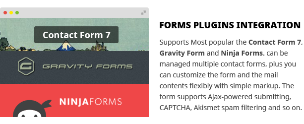Contact form 7 and Gravity Forms and Ninja Forms