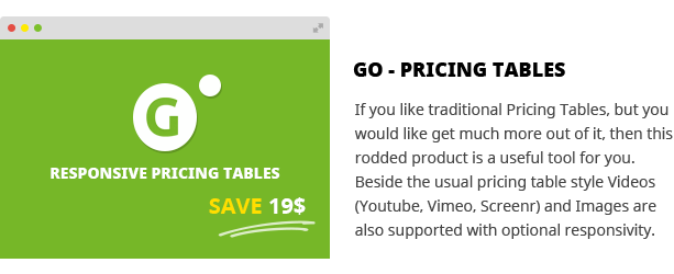Go Pricing Tables